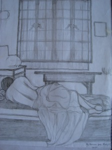 """my morning panes"" pencil on paper by Jeques, 2005"