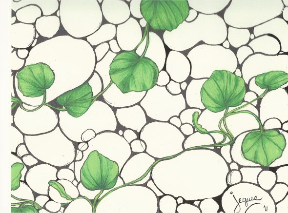 """pebbles"" pencil, pen and ink on paper by Jeques 2011"