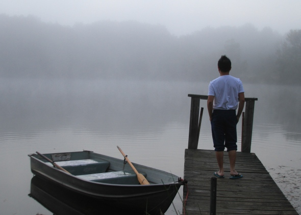Jeques turns 41: A walk in the mist at Sans-Souci Lake, New Buffalo, MI. July 31, 2013.